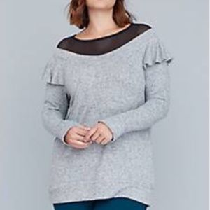 Lane Bryant hacci mesh and ruffles active top NWT